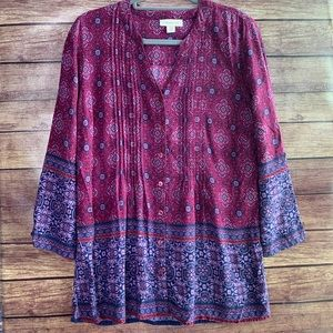 Coldwater Creek V-Neck Long Sleeve Purple Blouse